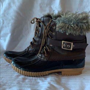 Fur Trim Fleece Lined Lace Up Duck Boots